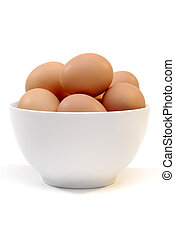 Fresh Eggs - Bowl Of Farm Fresh Free Range Eggs In A White...