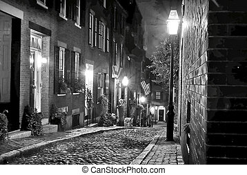 old new england at night - old 19th Century cobble stone...