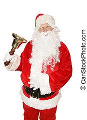 Santa Ringing Bell - Santa Claus ringing a brass bell....