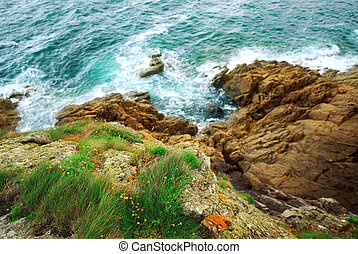 Cliffs at the ocean - View down the cliffs at Atlantic ocean...