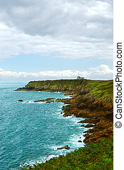 Atlantic coast in Brittany - Landscape of rocky Atlantic...