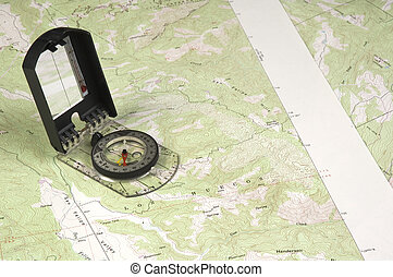 Topo Map and compass - Topographical map and compass