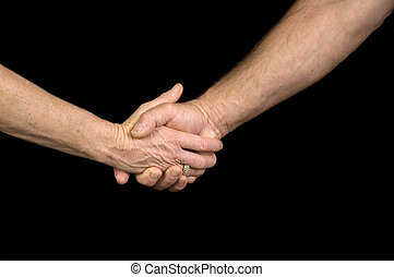 Man & woman shaking hands