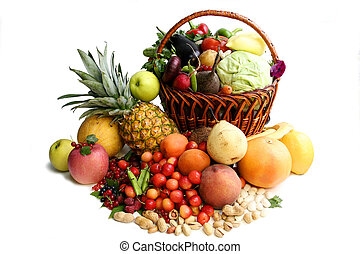 Delicious vegetative composition. Still life over the white background