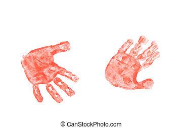 kinder hands - color kinder hands on the white paper