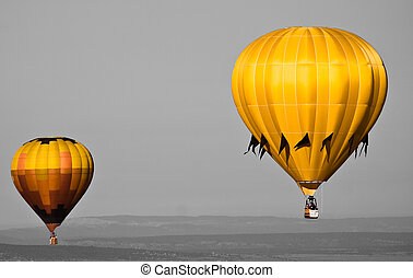 hot air - two hot air balloons fly above the northern new...