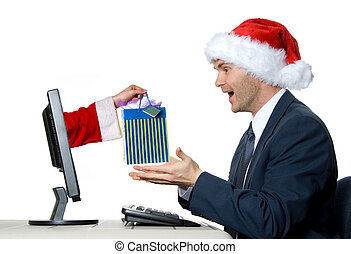 The Gift - man receiving a x-mas gift by internet via santa