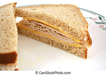 Isolated Turkey Sandwich on Whole Grain Bread - Isolated...
