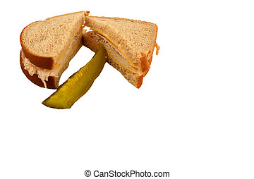 Isolated  Turkey Sandwich with pickle