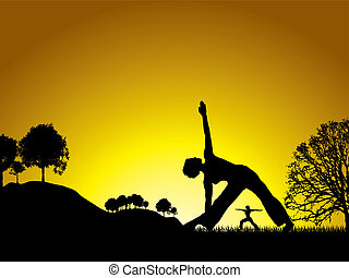 life cycle - sun setting on a yoga session in the middle of...