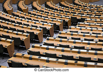 Conference room seats - Seats and tables in a conference...