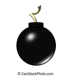 3d Bomb - A 3d render of a bomb isolated on a white...