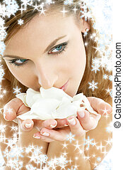 rose petals with snowflakes 2 - lovely woman in christmas...