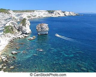 Bonifacio in Corsica - A look from Bonifacio village,...