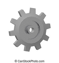 3d Gear Isolated - A render of a 3d gear isolated on a white...