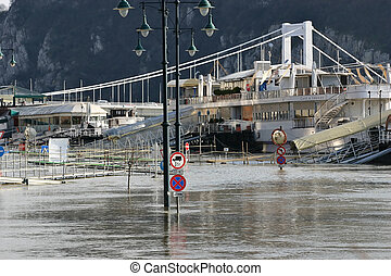 Flood in Budapest Hungary 2006 - The river Danube was...
