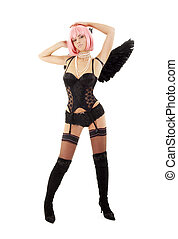 dancing black lingerie angel with pink hair over white