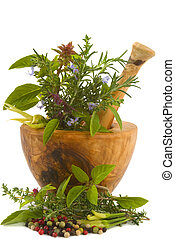 Herbs - Healing herbs, spices, and edible flowers handcarved...