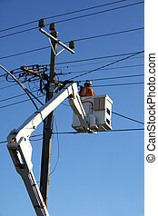 Cherry picker - Worker in cherry picker