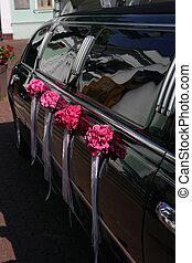 voiture, mariage, noir,  limousine