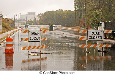 Wet Road Closed - Road closed for bridge construction in the...