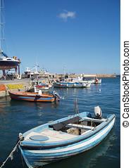 Fishing Boat Harbor Scene - Fishing boat scene in the old...