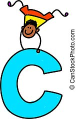 letter C boy - happy little ethnic boy balancing on giant...