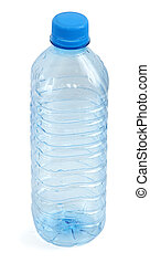 empty bottle against white background, gentle shadow at the...