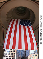 Flag - United States of America flag hanging from a rotunda...