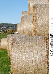 Hay Bails from Side - A pyramid of hay bails, seen from...
