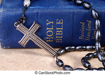 Bible And Rosaries - Old Blue Bible And Metal Cross On...
