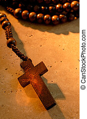 Wooden Rosaries - Old Wood Rosary Prayer Beads On A Stone...