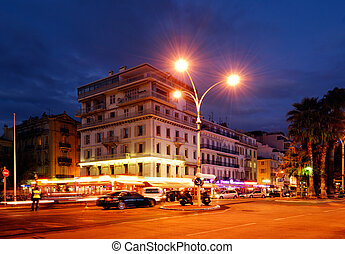 Downtown Cannes, photographed in the early hours of the...