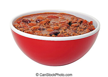 Chili with Beans - Bowl of hot chili with beans Isolated on...