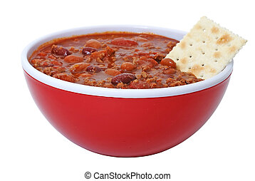 Chili with Beans and Cracker - Bowl of hot chili with beans...