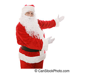 Santa Gestures - Santa Claus gesturing toward an area of...