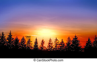 Sun Set  - Sun set with bright colorful sky background