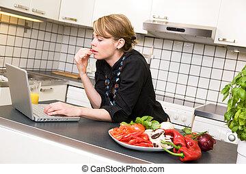 almoço, cozinha, laptop