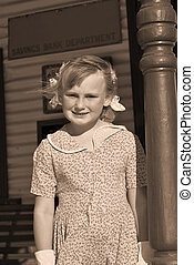 old photo of girl - old style silver gelation image of young...