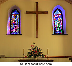Church Stained Glass - Church Interior with Stained Glass...
