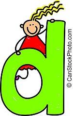 letter D girl - happy little girl climbing over giant letter...