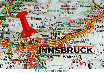 Innsbruck marked on map - Innsbruck, Tirol, Austria...