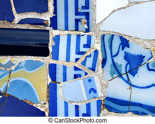Blue mosaic - Interesting mosaic detail in Barcelona, Spain,...