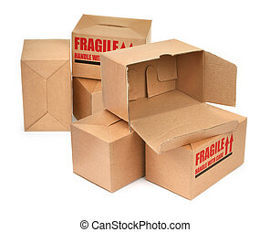 handle with care 2 - group of cardboard boxes againt white...