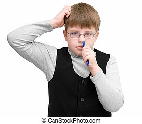 schoolboy picks ones no - The schoolboy picks ones nose on a...