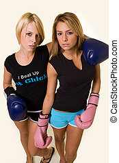 Competitors - Portrait of two women wearing shorts and...