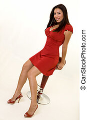 Woman in red dress - Full body of an attractive long haired...