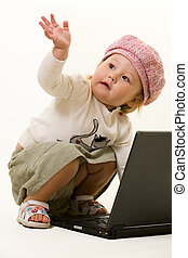 Adorable baby with laptop - Adorable baby girl toddler in...