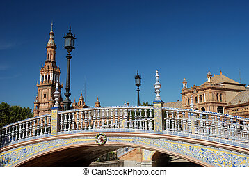 Beautiful bridge on Plaza de Espana in Seville, Spain