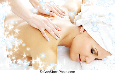 professional massage with snowflakes 2 - christmas picture...